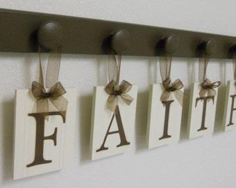 Custom Baby Name - Baby Nursery Decor - FAITH - 5 Wooden Hooks - Brown Decor Sign