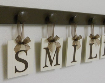 Dentist Gift, Dentistry Wall Decor Wood Sign, Wooden Hanging Sign - SMILE - Set Includes Wooden Hooks - Chocolate Brown