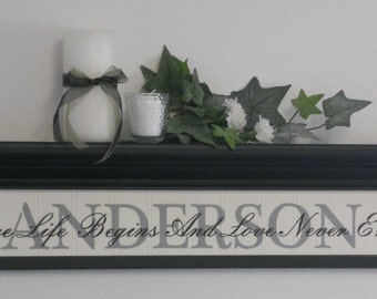 """FAMILY NAME SIGN - Personalized Family Name Shelf 30"""" Black with Sign - Where Life Begins And Love Never Ends"""