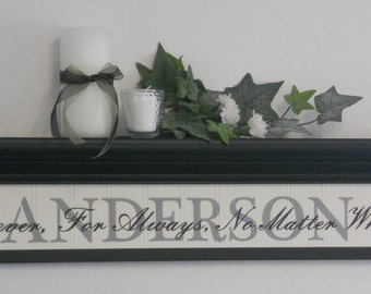 "Family Name Sign - Personalized Family Name on 30"" Black Shelf with Sign - Forever, For Always, No Matter What"