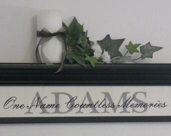 "PERSONALIZED Name Shelf & Sign - 24"" Black Shelf and Family Name Sign - One Name Countless Memories - Custom Wall Decor Gift"