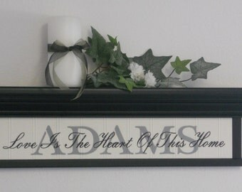 """Personalized Family Name with Verse - 24"""" Black Shelf - Sign - Love Is The Heart Of This Home"""
