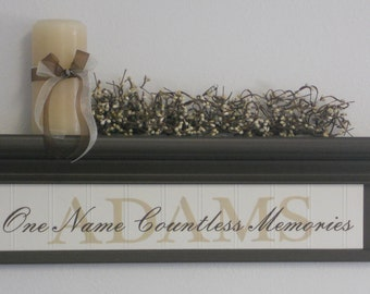 "PERSONALIZED Name Shelf & Sign - 24"" Chocolate Brown Shelf and Family Name Sign - One Name Countless Memories - Custom Wall Decor Gift"