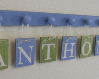 Blue and Green Wall Letters - Custom Wood Name - Personalized Name Letters - Shabby Chic Nursery Decor Baby Shower Gift