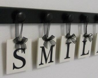 Dentist Gifts, Dentistry Sign, Dentist Office Art, Wooden Hanging Sign - SMILE - Set Includes Wooden Hooks - Black