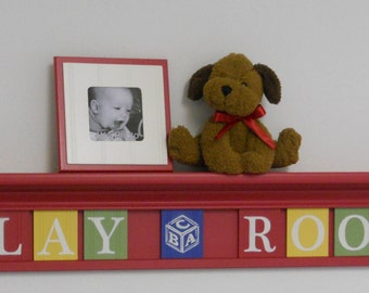 "Baby Nursery - Baby Wall Letters Shelf Sign 9 letters - PLAY (ABC Block) ROOM - 42"" Shelf Red, Blue, Yellow and Green"