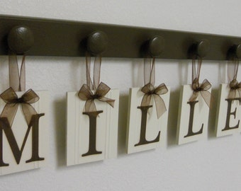 Custom Family Last Name Sign Set Includes Peg Wood Hooks in Brown Hanging Ribbon Personalized Name Wedding Gift