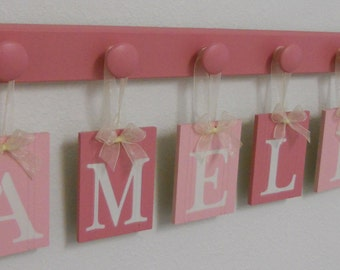 Baby Shower Gift for Girls Nursery Art Personalized Gifts for AMELIA 6 Wood Pegs Handpainted Signs Pink Nursery Decor
