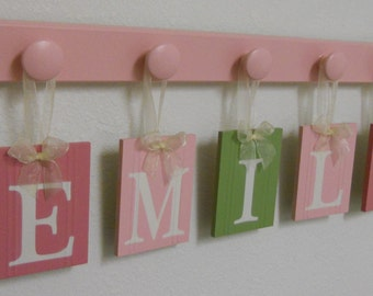 Kids Wall Art Wooden Letters Set Includes 5 Hooks and Customized Name EMILY Light Green and Pinks