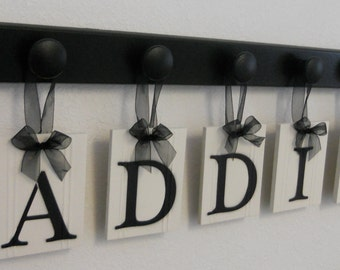 Kids Alphabet Nursery Letters. Set Includes Wooden Hangers and Name Painted Black. Baby Girls Room Wall Decor