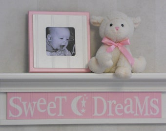 "Sweet Dreams - Sign on 24"" Shelf Painted White or Linen (Off White) and Light Pink Moon and Star Nursery Wall Art"