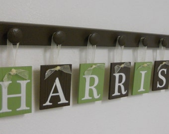 Wooden Letters Nursery Decor Personalized Name Sign Sets Includes Wood Knobs Light Green and Chocolate Brown.  Custom Gift for Baby Boy