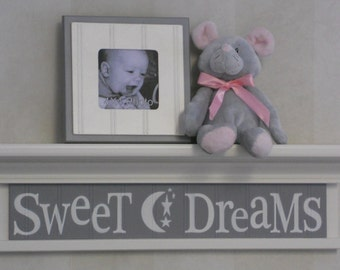 "Grey Nursery - Gray Sweet Dreams on 24"" White or (Off White) Shelf, Moon and Star Nursery Wall Art"
