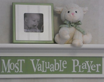 """Green Nursery - Most Valuable Player - Sign on 24"""" Shelf Linen (Off White) and Light Green Sport Wall Decor Baby Nursery"""