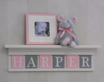 Personalized Children Nursery Decor White or Off White Shelf with Letter Wooden Tiles Painted Light Pink and Gray