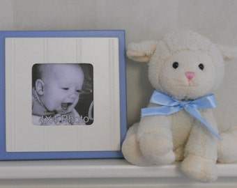 Baby Blue Picture Frame Square Picture Frame 4x4 Photo Shabby Chic Baby Boy Nursery Decor,  Navy Blue Frame