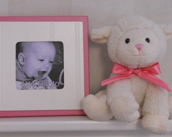 Pink Nursery - Baby Girl - Wood Decor Wall Art Square Picture Frame 4x4 Shabby Chic Gift Baby Nursery 8x8 Frame