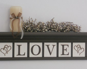 LOVE with Hearts Personalized Family Name Signs on Shelf Customized with Wooden Letter Tiles Painted Chocolate Brown