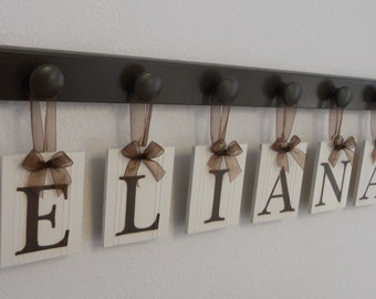ELIANA Baby Girl Personalized Wall Decorations Includes 6 Wooden Plaque Letters and Pegs in Chocolate Brown