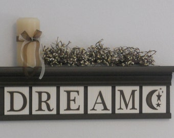 Personalized Word Signs / Shelf with Wooden Letter Tiles Painted Chocolate Brown and White Customized for DREAM with Moon and Stars