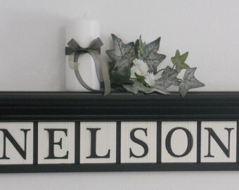 Personalized Family Names and Signs on Shelf with Custom Wooden Name Letter Tiles  Painted Black Design Tiles