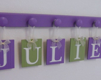 Purple Green Nursery Hanging Ribbon Letters includes 6 Wooden Hooks in Lilac  Personalized for JULIET