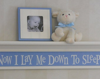 "Now I Lay Me Down To Sleep - Sign on 30"" Linen (Off White) Shelf Light Blue Verse Inspirational Christian Wall Art for Nursery"