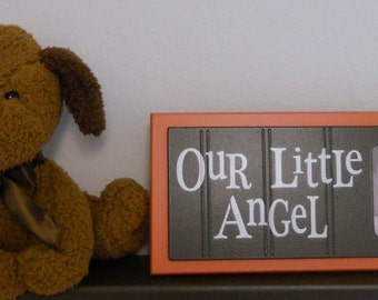 Nursery Wall Art Baby Nursery Decor in Orange and Brown Photo Frame - OUR LITTLE ANGEL