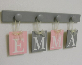 Pink Gray EMMA Baby Nursery Wall Letter Sign Set - 4 Wooden Hooks Grey and Light Pink Personalized Names for EMMA