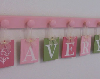 Hanging Wood Letters Baby Name Set Includes AVERY and FLOWERS Hanging Wall Ribbon Letters - 7 Hooks Pink and Green Nursery Decor