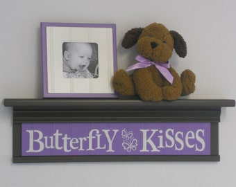"Butterfly Kisses - Sign on 24"" Shelf Brown and Lilac Children Wall Art Purple Butterflies Nursery Decor"