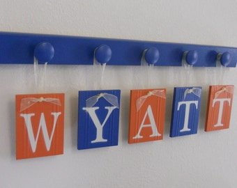 Blue and Orange Nursery Decor Baby Boy Room Wall Decor Name Includes Hanging Ribbons and Hooks