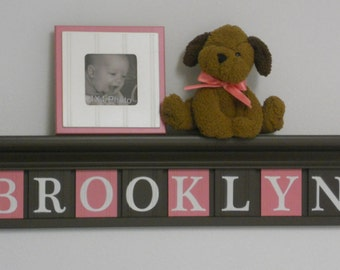 New Baby Gift | Baby Gifts for Girl Personalized Sign Nursery Wall Decor Chocolate Brown Shelf with Wood Letter Brown and Pink