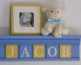 "Baby Boy Blue Yellow - Baby Boy Nursery Decorations - Baby Name Sign for JACOB - 24"" Shelf 5 Wooden Letter Tiles"