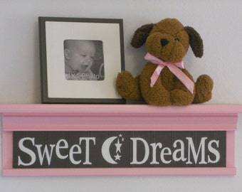 "Pink Wall Shelf - Pink and Brown Nursery Art  - Sweet Dreams - Sign on 24"" Shelf Pastel Pink"