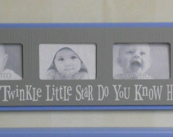 Picture Frames for Baby Boy Nursery - Twinkle Twinkle Little Star - Baby Blue and Gray Nursery Wall Art - Baby  Frame 4x6 Picture Frame Sign