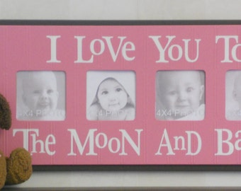 Pink Nursery - I Love you to the Moon and Back - Brown Pink Nursery Wall Art Baby Sign 4x4 Picture Frame