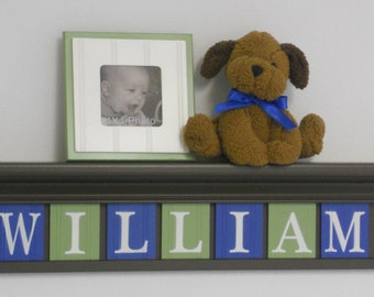 Personalized Children's - Nursery Decor Chocolate Brown Shelf - Wooden Wall Letters Blue and Light Green and Brown - Custom Name