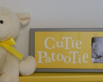Yellow Gray Nursery Art Photo Frame Sign Yellow Baby Nursery Decor Gift - CUTIE PATOOTIE