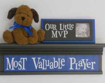 """Most Valuable Player - Sign on 24"""" Shelf Brown and Blue Sport Wall Decor Baby Nursery"""