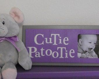 Purple Gray Baby Nursery Art Photo Frame Sign Baby Nursery Decor Gift - CUTIE PATOOTIE