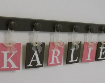 Baby Girl Nursery Wall Decorations Letter Sign, Wooden Baby Name Personalized Hanging Letters Wood Hangers Pink and Chocolate Brown