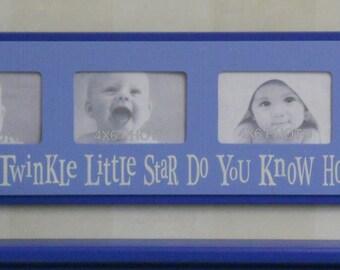 Blue Baby Boy Nursery Twinkle Twinkle Little Star - Sign - Childrens Art Frame Pastel Blue Baby Boy Nursery 4x6 Picture Frame