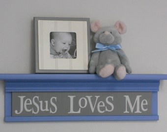 "Blue Gray Nursery Wall Decor 24"" Shelf Pastel Blue and Sign Painted in Gray - Jesus Loves Me"