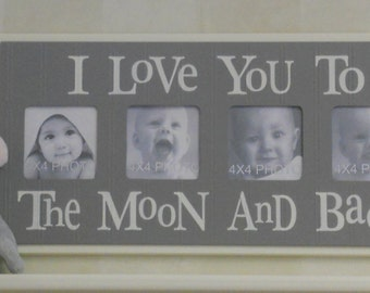 Gray Nursery Frame Decorating Ideas - I Love you to the Moon and Back - Grey Nursery Wall Art Baby Boy Sign 4x4 Picture Frame