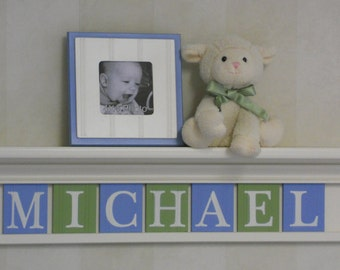 Blue Green Nursery Art Childern Name Nursery Decor (White or Off White) Shelf / Sign Wooden Letters Personalized