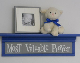 "Blue and Gray - Most Valuable Player - Sign on 24"" Shelf Blue Sport Wall Decor Baby Nursery"