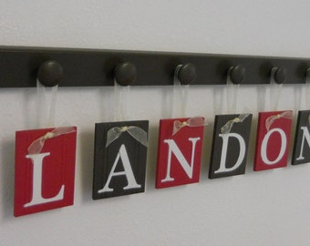Alphabet Letters   Hanging Ribbon Name   Monogram Sign Set Includes Wood Peg Rack   Red and Chocolate Brown   Custom Wooden Wall Letters
