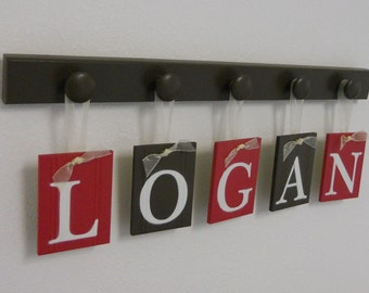Children Decor Nursery Wall Letters for LOGAN with 5 Wooden Peg Hooks Brown and Red