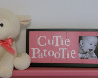 Pink and Black Nursery Decor Photo Frame - Sign - Baby Girl Nursery Decor Gift - CUTIE PATOOTIE
